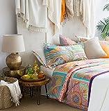 Vintage Scarf Blue Mandala Tapestry Duvet Quilt Cover Modern Bohemian Patchwork Bedding Set by Envogue, Aquamarine Navy Teal Indian Damask Medallion Paisley Print Design (Queen, Multicolor)