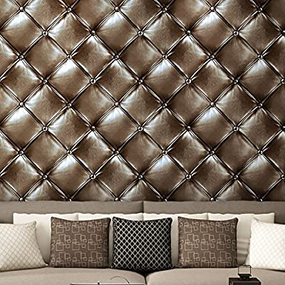 Blooming Wall 3d Faux Leather Backgound Texture Wall Pattern Wallpaper Roll for Livingroom Bedroom, 20.8 In32.8 Ft=57 Sq.ft