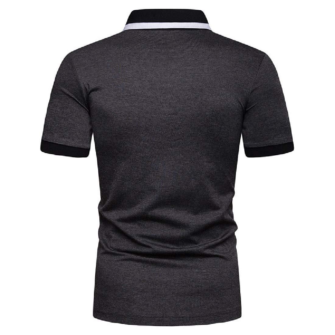 Winwinus Mens Short-Sleeve Contrast Fashion Cotton Casual Pique Polo Shirt