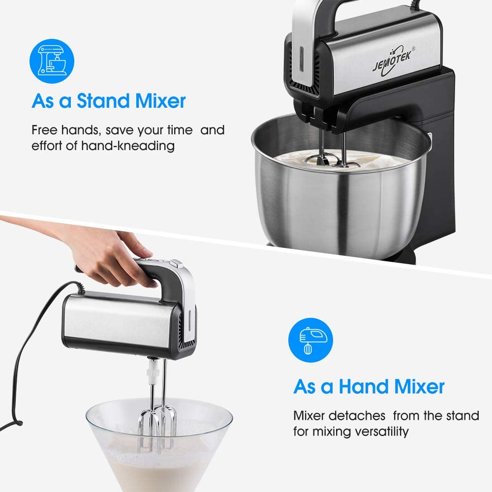 Stand Mixer, 5 Speeds Electric Mixer 2 in 1 Hand Mixer with 4 Quarts Stainless Steel Mixing Bowl, Beaters & Dough Hooks