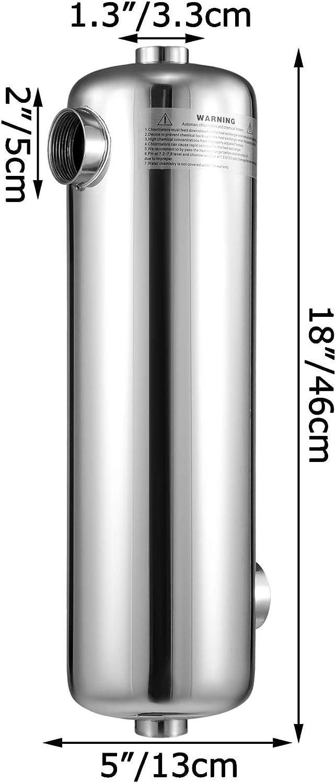 Mismos Puertos Laterales Calefacci/ón de Piscina Acero Inoxidable VEVOR Intercambiador de Calor de Carcasa de Tubo 95KBtu//h Acero Inoxidable Intercambiador de Calor de Piscina