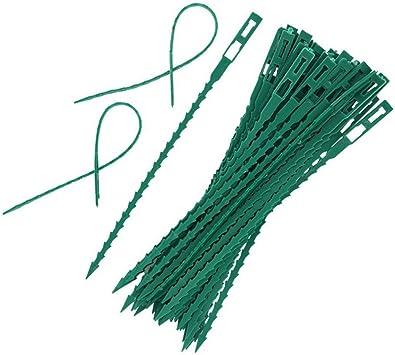 Ouken Torsión Ajustable 50pcs jardín de la Planta torcedura Lazos de plástico Flexible Bridas Cierres para jardín de Plantas Sujetador Trinca Verde: Amazon.es: Hogar
