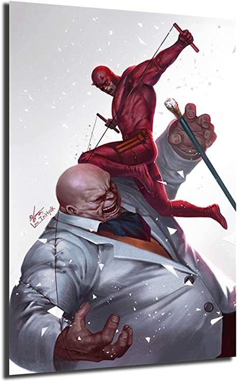 Amazon Com Daredevil Vs Kingpin Painting And Prints Superheroes Movie Poster Decorative Wall Art Pictures For Living Room Home Decor No Framed 8x12inch Posters Prints