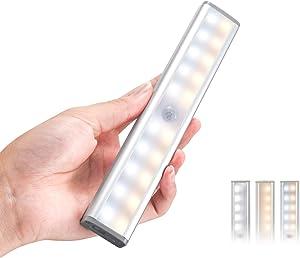 Homelife LED Bars Motion Sensor Lights, Wireless Dimmable Under Cabinet Lighting 20 LEDs Closet Light, Build in Rechargeable Battery Magnetic Safe Night Lights, Magnetic Removable Kitchen Lights.