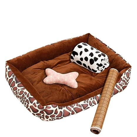 Cama perro Color marrón ranurada Ortopédica, Rectángulo pequeño/Grande, Cojines para Perros y