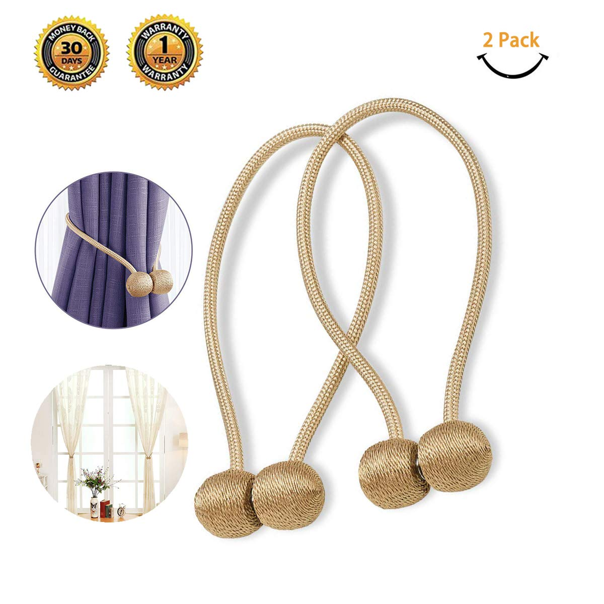 Gootus Curtain Tiebacks Hooks Magnetic Holdbacks - 2 Packs Strong Magnetic Tie Curtain Clips for Home Office Decorative (Blue)