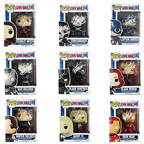 Stan Lee Autographed/Signed Funko Pop! Marvel Civil War Bundle - 9 Characters