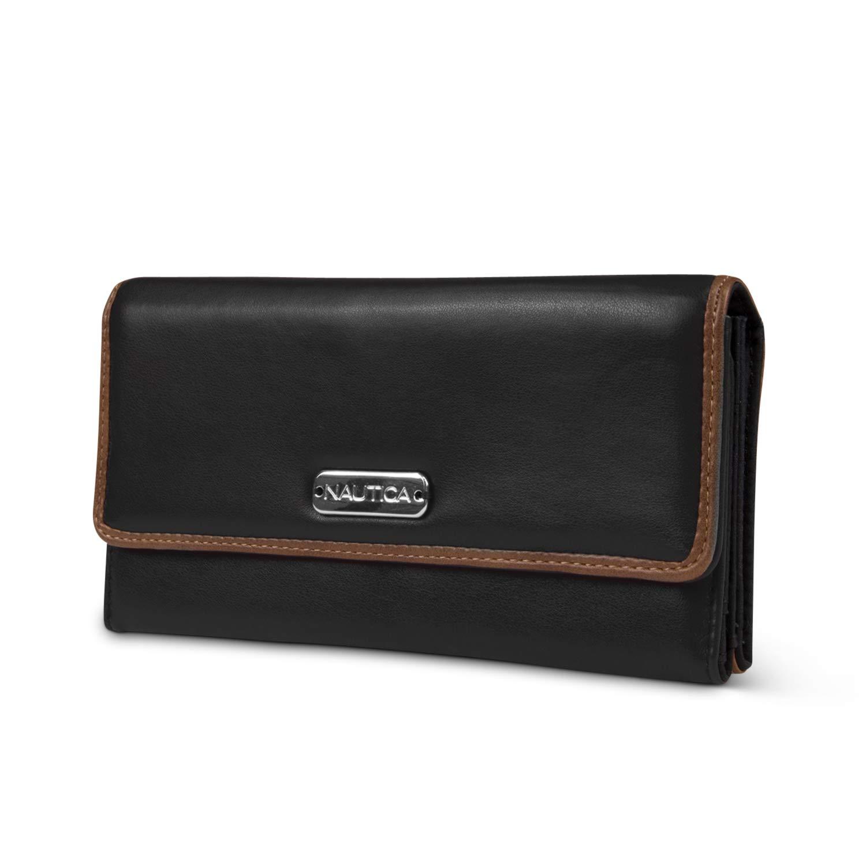 Black (Pull Up) Nautica Money Manager RFID Women's Wallet Clutch Organizer