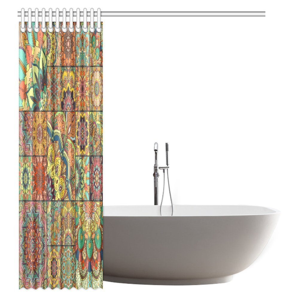 Amazon.com: InterestPrint Mandala Decor Shower Curtain, Floral ...