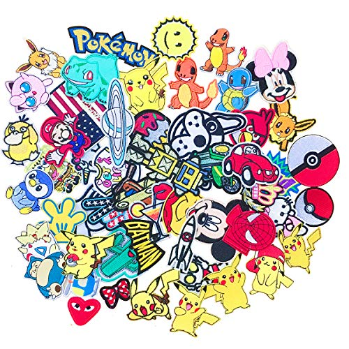 SIX VANKA Cartoon Patches 36pcs Random Assorted Iron On Embroidered Applique Sew on Patch for Tailor Jeans Clothing Denim Jeans Jacket Handbag Shoes DIY Craft Decoration -