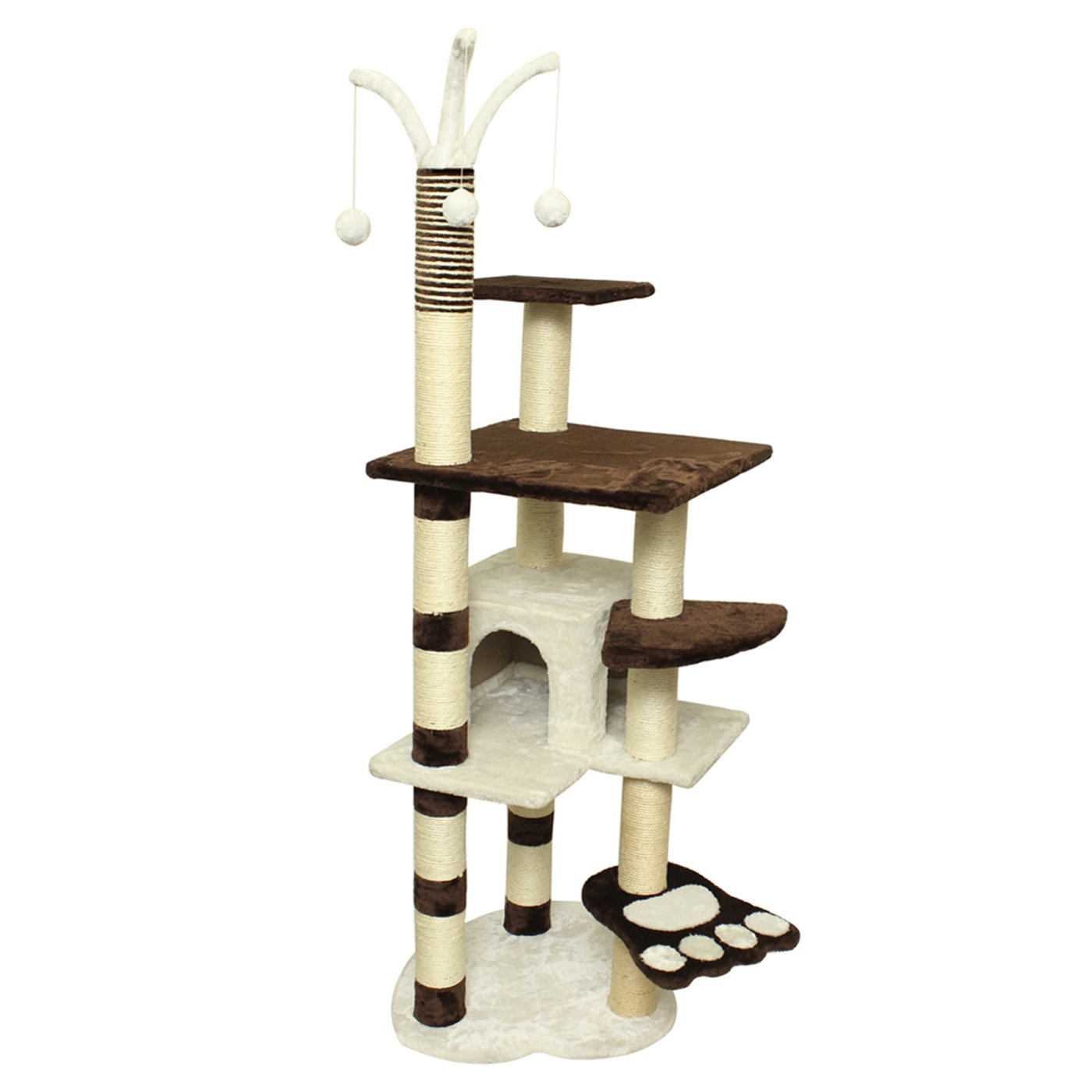 OxGord 22x53x64 Cat Tree House w/Scartching Post Towers, Hammock Bed & Pet Toy Balls , Multi 6 Level Condo w/Stairs - Brown And White