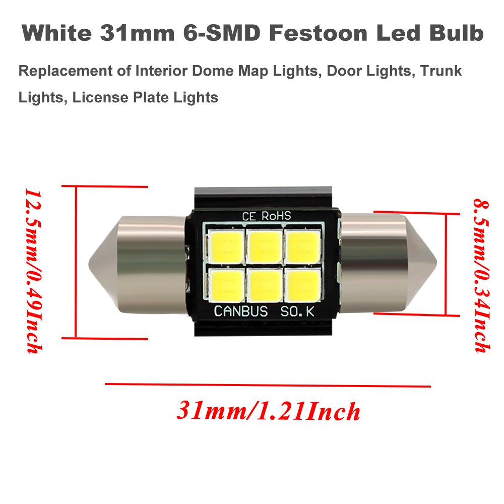 "Boodled Extremely Bright 350 Lumens 3030 Chipset Canbus Error Free LED Bulbs for Interior Car Lights License Plate Dome Map Door Courtesy 1.25/"" 31MM Festoon DE3175 6428 Xenon White 4x31MM-3030-6-W-JM"