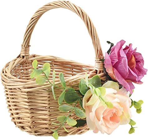 Wicker flower girl basket Rustic wedding favors storage Oval woven basket with a bow-knot Wedding decor holder Flower girl basket