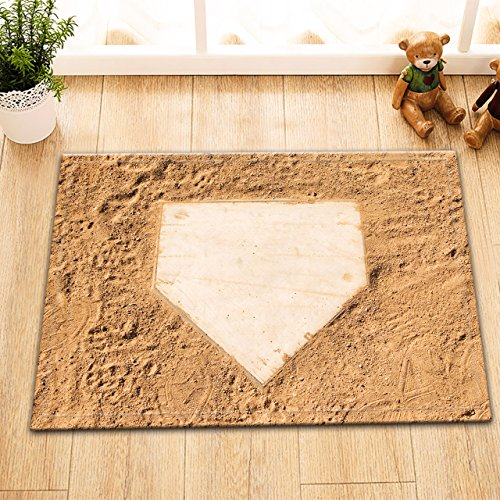 (LB Baseball Dirt Field Home Base Decor Small Indoor Rugs, Non Slip Rubber Backing Soft Flannel Surface, American Sports Icon Print House Decor Rug 15 x 23 Inches)
