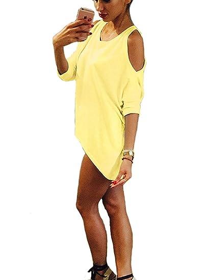 Camisetas Mujer Basicas Media Manga Cuello Redondo Hombros Descubiertos Blusas Elegantes Moda Casual Clásico Especial Color Sólido Anchas Irregular T Shirt ...