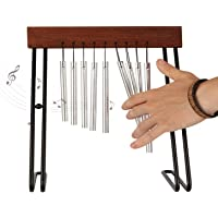Table Top Bar Chime, Single-row Musical Percussion Instrument with Solid Aluminum Pipe and Iron Stand Stick for Ornament Classroom Office Decoration Kids Educational Gift