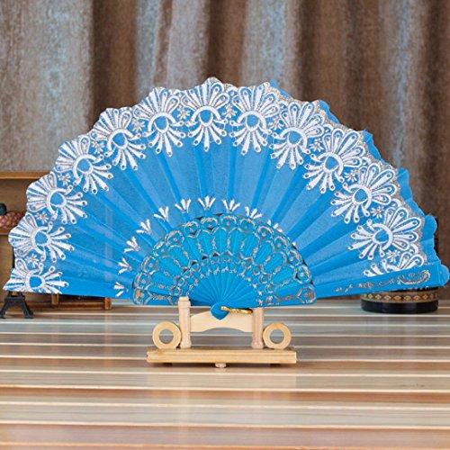 Iuhan Fashion Spanish Style Dance Wedding Party Lace Silk Folding Hand Held Flower Fan (Style Pattern Random) (Sky Blue)