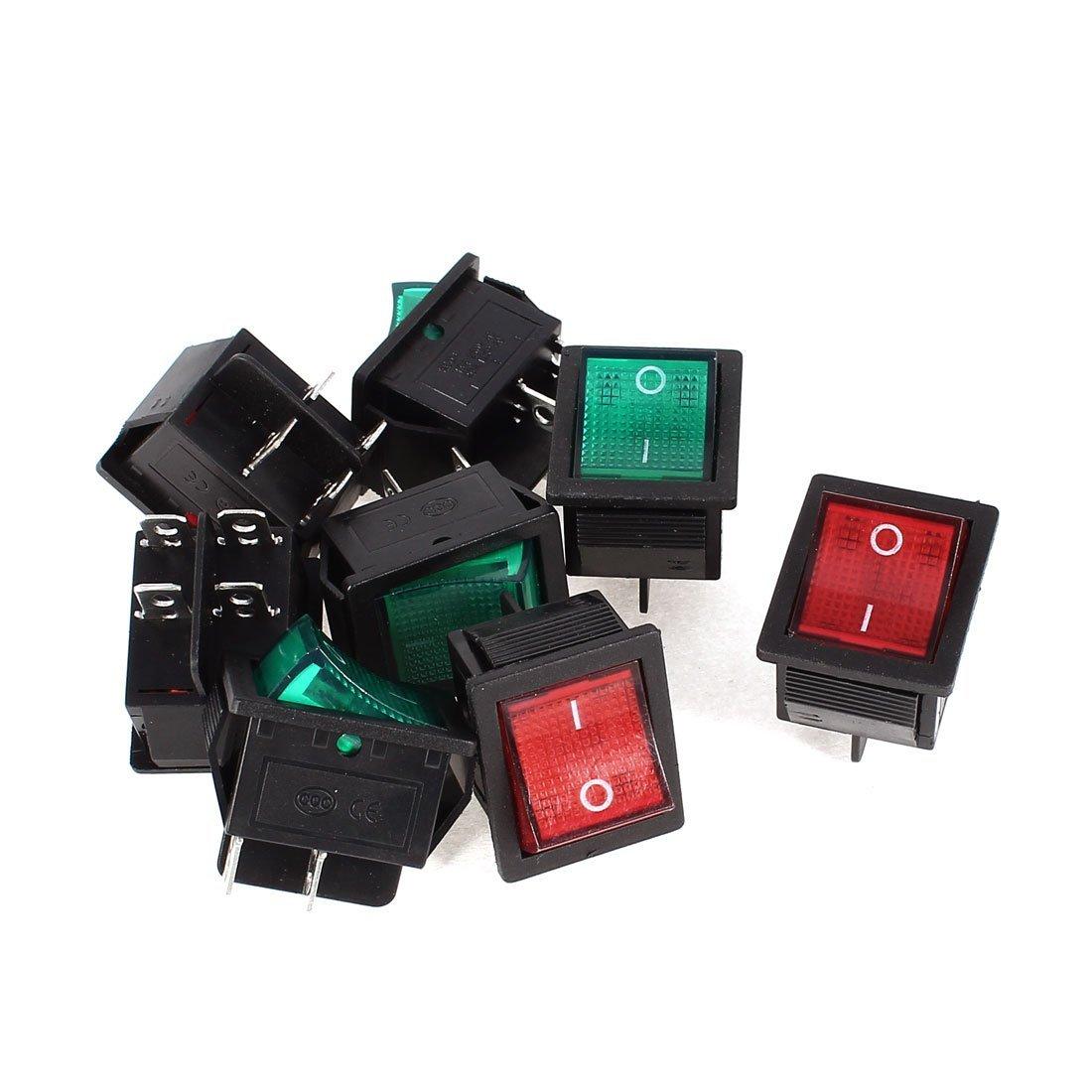 15A / 20A 250V / 125V DPST E / S Interruptor basculante KCD4 8PCS Rojo Verde DealMux