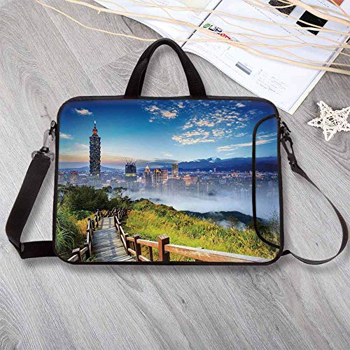 """Scenery Decor Waterproof Neoprene Laptop Bag,Beautiful Scenery of a City Cosmopolitan Life and Nature with Bridge Print Laptop Bag for Business Casual or School,15.4""""L x 11""""W x 0.8""""H"""