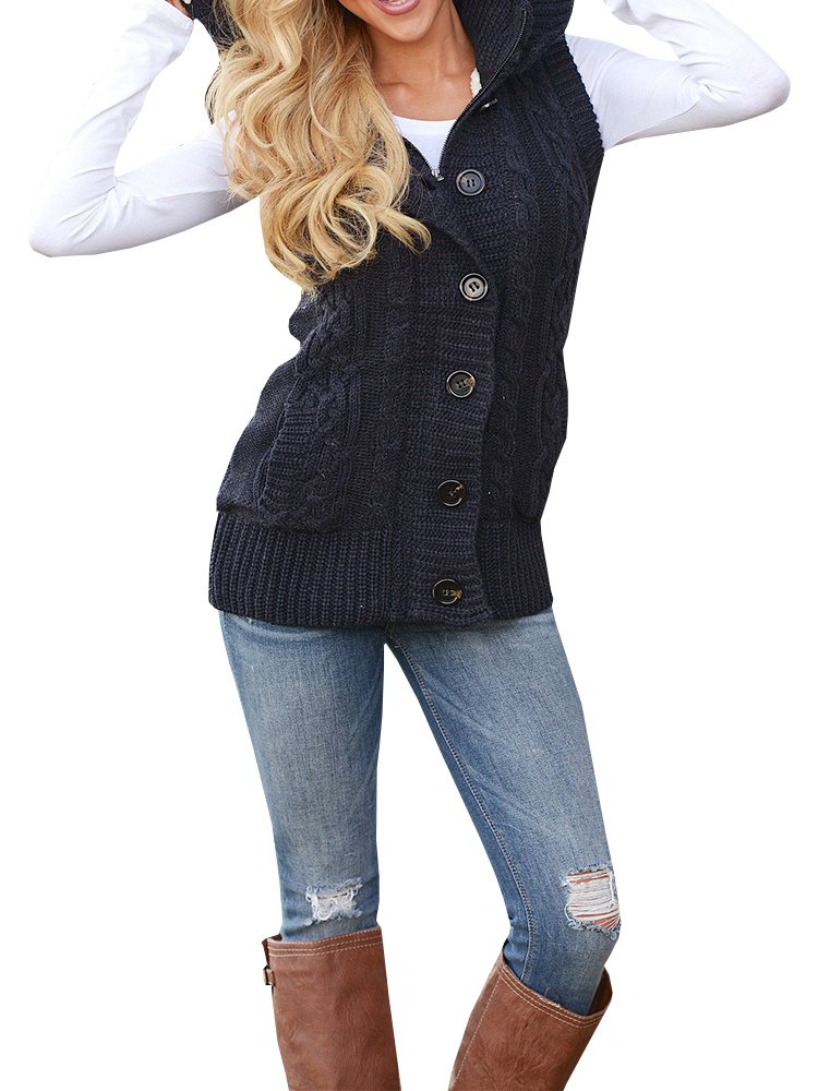 Imily Bela Women's Cable Knit Sleeveless Hoodies Button Down Sweater Vest with Pockets (Large, Navy)