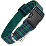 "The Artful Canine Blackwatch Plaid Dog Collar, Medium Dogs, 22-35lbs (Collar: 3/4 Wide, 10"" - 15"" Long)"