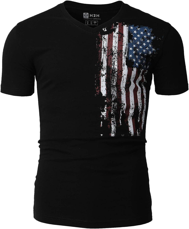 H2H Mens Casual Slim Fit Short Sleeve T-Shirts Cotton Blended Soft Lightweight V-Neck//Crew-Neck