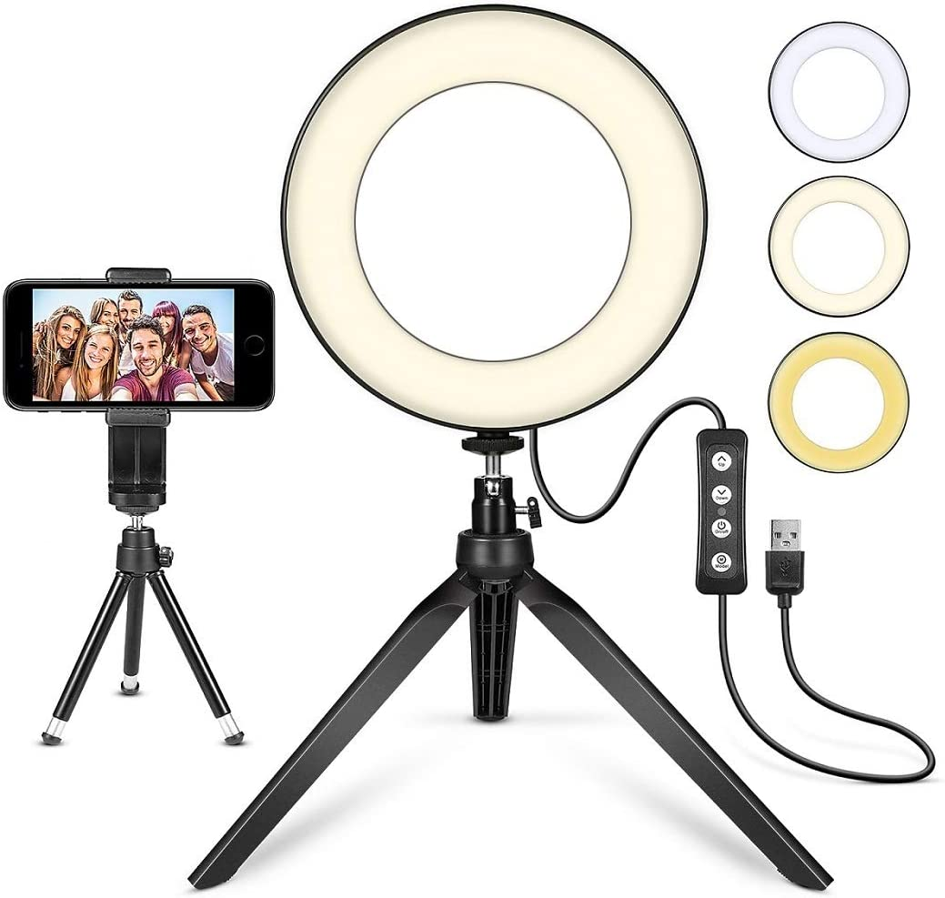 Live,Black Funiee 12 Desktop LED Ring Light with Makeup Mirror,Phone Holder,Dimming 3 Lighting Modes Camera Ring Make Up Light for YouTube