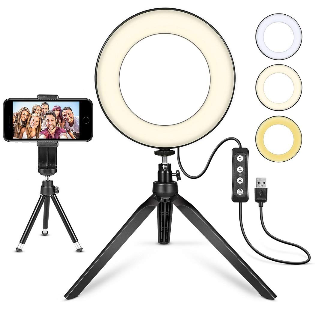 LED Ring Light 6'' with Tripod Stand for YouTube Video and Makeup, Mini LED Camera Light with Cell Phone Holder Desktop LED Lamp with 3 Light Modes & 11 Brightness Level (6'') by MACTREM