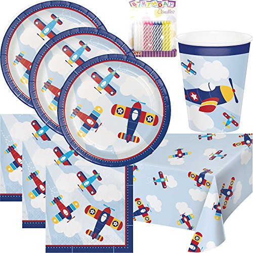 Lil Flyer Airplane Party Plates Napkins Cups and Table Cover Serves 16 with Birthday Candles - Lil Flyer Airplane Birthday Party Supplies Pack (Bundle for 16)