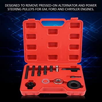 12pc Pulley Puller Remover Installer Set for GM Chrysler Ford Power Steering Alternators Qiilu Pulley Puller Installer Set