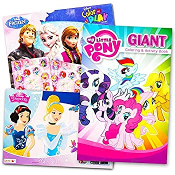 Disney MLP Coloring Book Super Set For Girls 3 Giant Books Featuring Princess Frozen And My Little Pony Includes