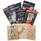 Slaughterhouse Crate by Man Crates – Includes 6 Delicious Bags of Beef Jerky – Flavor Profiles Include Baby Blues BBQ, Honey