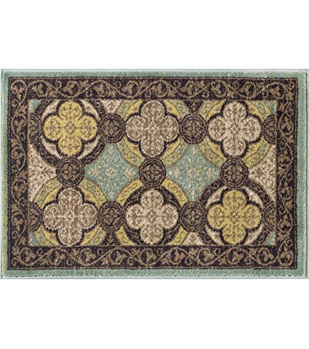 Brown Transitional Area Rug (Laila Transitional Moroccan Tile Brown Scatter Mat Rug, 2' x 3')