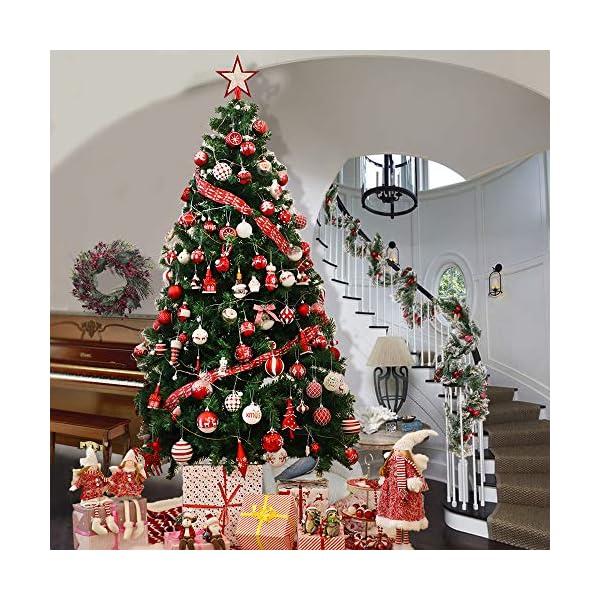 Victor's Workshop Addobbi Natalizi 100 Pezzi di Palline di Natale, Oh Cervo Rosso e Bianco Infrangibile Palla di Natale Ornamenti Decorazione per la Decorazione Dell'Albero di Natale 7 spesavip