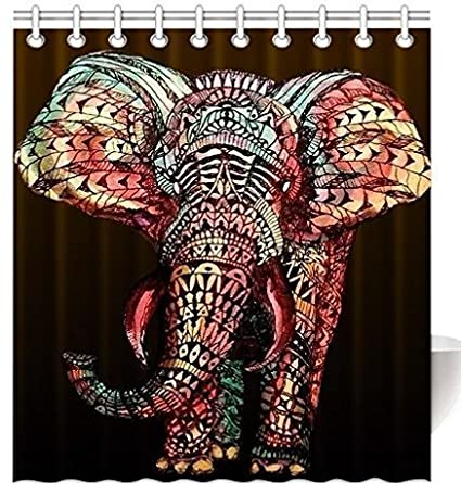BEEBEE Africa Elephant Shower Curtain For Bathroom Set With Hooks Accessories Mildew Resistant