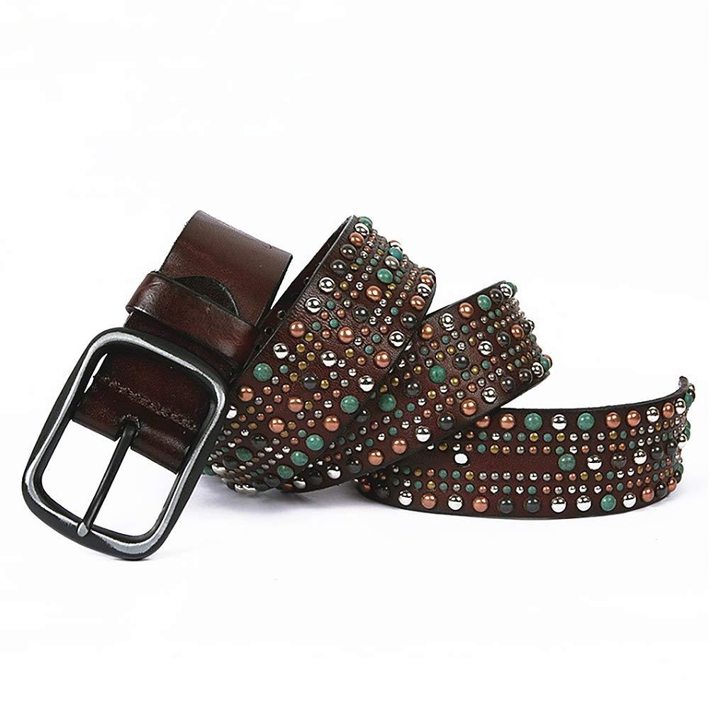 Coffe Women Waist Belt Leather Studded Belt colorful Rivet Design Ladies Belt (color   Coffe, Size   115cm)