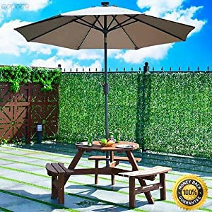 COLIBROX--Patio 6 Person Outdoor Wood Picnic Table Beer Bench Set Pub Dining Seat Garden Wooden Top Picnic Table Patio Garden