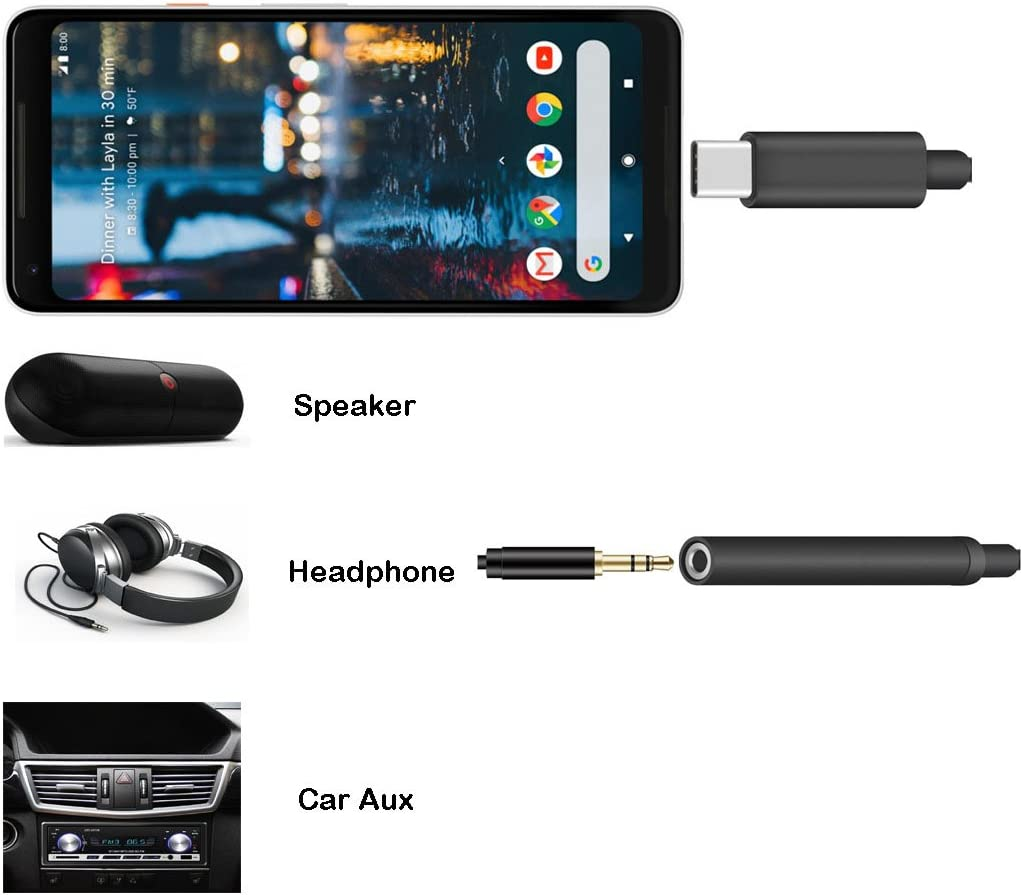 Fotrust Type C to 3.5mm Aux Audio Adapter with DAC Chipset Compatible Pixel 3//3XL//2//2XL HTC U11 Type C to 3.5mm Headphone Jack Adapter Moto Z//Z2 and Other USB C Devices Essential Ph-1