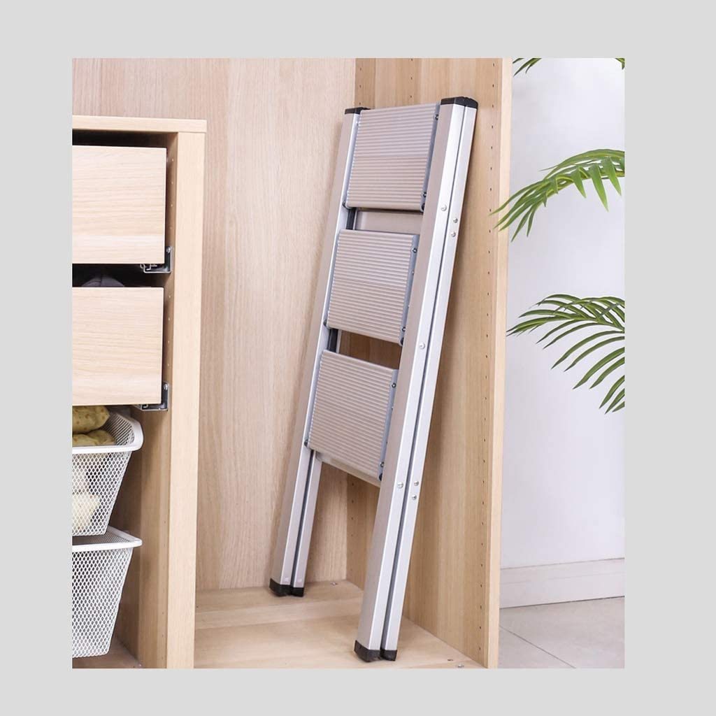 Color : Black, Taille : Three Step Ladder LiuQ 2 Escabeau Portable en Aluminium Compact et l/éger for Jardin Bureau Garage Bricolage