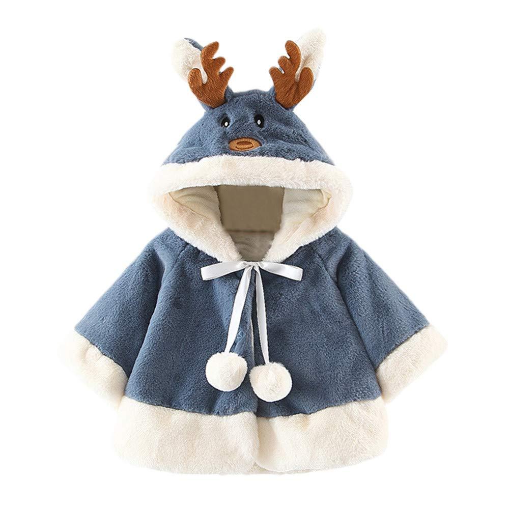 Luoluoluo Cappotti da Bambina Ragazza Cape Cappuccio Pelliccia Cappotto Giacche, Giacca del Mantello del Cappotto di Inverno della Pelliccia della Neonata Vestiti Caldi Spessi