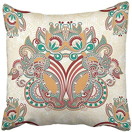 Ornamental Silk Square Scarf - Emmwhite 18X18 Inch Throw Pillow Cover Polyester Western Traditional Ornamental Floral Paisley Bandana Vintage Scarf Retro Silk Shawl Cushion Decorative Pillowcase Square Two Side Print Home