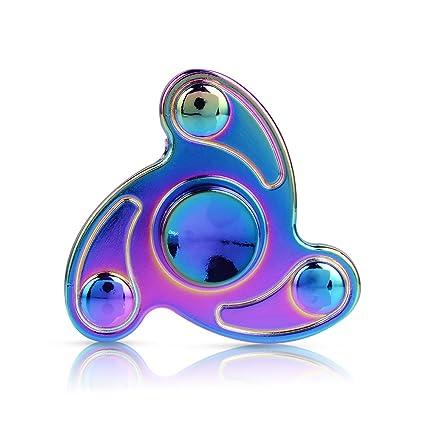 Fidget Spinner Toy Rainbow Hand Tri Finger Metal Stainless Steel Bearing Spinnerfor