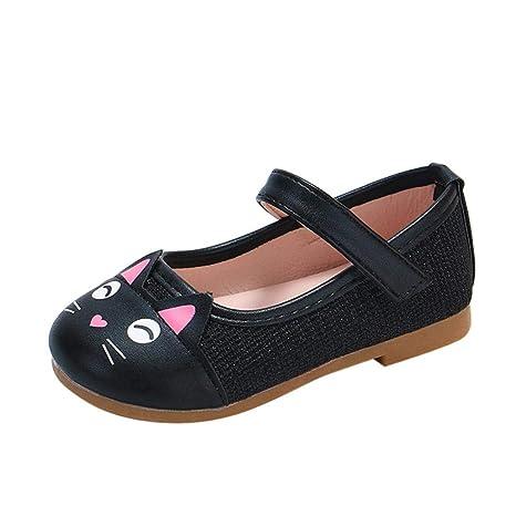 Zapatos NiñAs Carnaval ZARLLE Zapato Princesa NiñA Dibujo De Gato De Dibujos Animados Sandalias De Vestido Flat Shoes Bailarinas Princesa Zapatos con TacóN ...