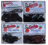 Bolner's Fiesta Extra Fancy Dried Chili Pods 4 Flavor Variety Bundle: (1) New Mexico Chili Pods, (1) Chipotle (Smoke Dried Jalapeno) Chili Pods, (1) Ancho Chili Pods, and (1) California (Mild And Flavorful) Long Red Chili Pods, 1-1.5 Oz. Ea.