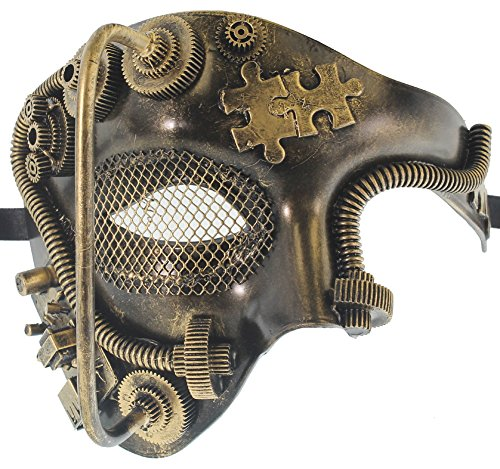 RedSkyTrader Mens Silver and Black Phantom Skull Venetian Mask One Size Fits Most Gold