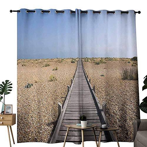 duommhome Seaside Decor Collection Bedroom Curtain Raised Wood Boardwalk Across a Pebble Coastline Stone Endless Road Nature Theme Suitable for Living Room Bedroom W84 xL96 Blue Brown Cream