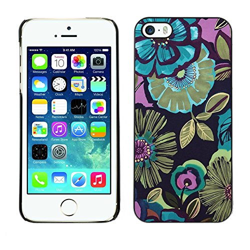 Soft Silicone Rubber Case Hard Cover Protective Accessory Compatible with Apple iPhone? 5 & 5S - flowers blue drawing paint