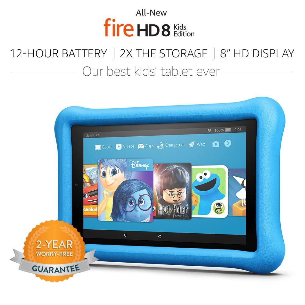 All-New Fire HD 8 Kids Edition Tablet, 8 inch HD Display, 32 GB, Blue Kid-Proof Case