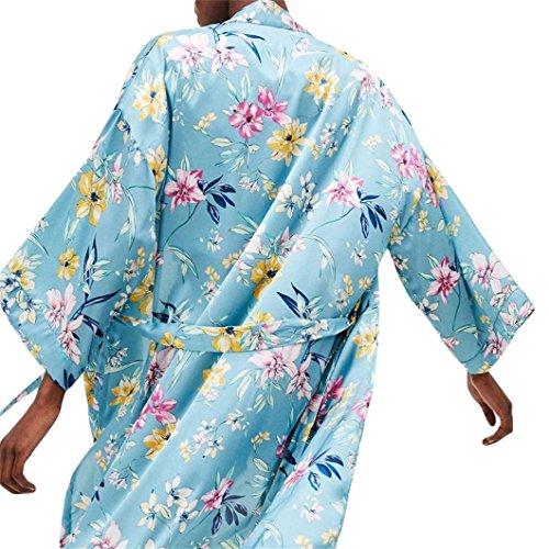 Long Kimono Floral Tops Femmes Bleu Vovotrade Bohemia Surdimensionn pour Pompon 7qO6Hw6