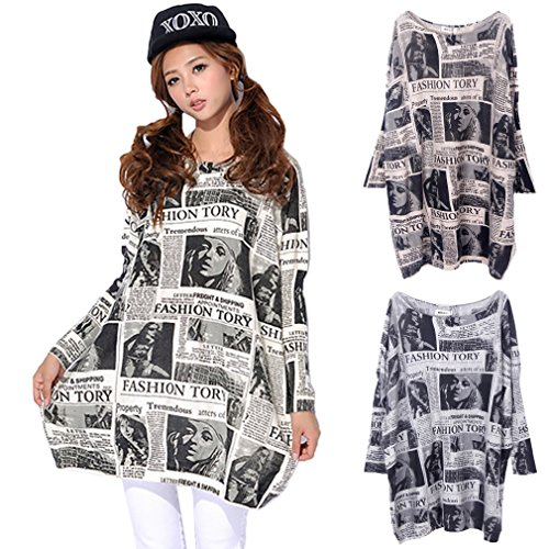 Smile YKK Womens Long Sleeve Knit Sweater Casual Printed Pullover Tops Apricot